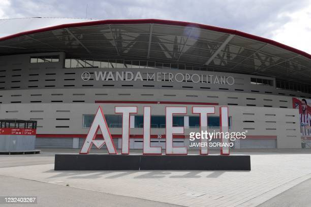 Picture shows Spanish football club Atletico Madrid's Wanda Metropolitano stadium in Madrid on April 19, 2021. - Plans for a breakaway Super League...