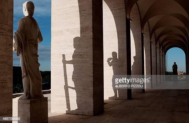"""Picture shows statues under arcades of the Palazzo della Civilta Italiana also named """"Square Colosseum"""" where Fashion house Fendi has inaugurated its..."""
