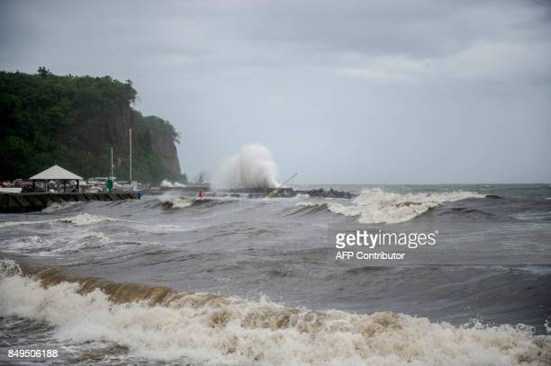 A picture shows strong waves along the coastline in Le Carbet on the French Caribbean island of Martinique after it was hit by Hurricane Maria on...
