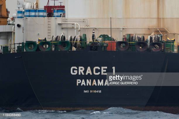 A picture shows supertanker Grace 1 off the coast of Gibraltar on July 6 2019 Iran demanded on July 5 2019 that Britain immediately release an oil...