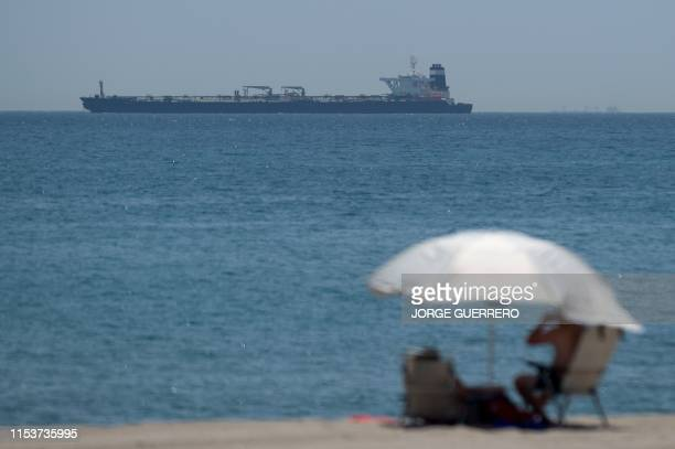 Picture shows supertanker Grace 1 suspected of carrying crude oil to Syria in violation of EU sanctions after it was detained off the coast of...
