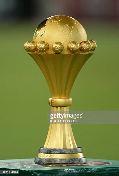 A picture shows the 2015 African Cup of Nations trophy ahead of the final football match between Ivory Coast and Ghana in Bata on February 8 2015 AFP...