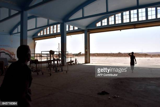A picture shows the abandoned military airport in the eastern Syrian city of Deir Ezzor on September 11 as Syrian government forces continue to press...