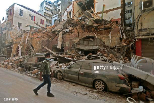 Picture shows the aftermath of a blast that tore through Lebanon's capital on August 5, 2020 in Beirut. - Rescuers searched for survivors in Beirut...