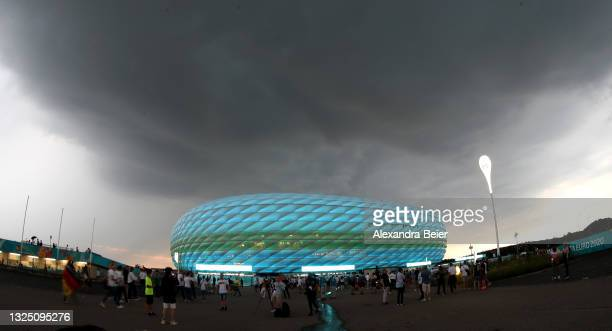 Picture shows the Allianz Arena soccer stadium illuminated in blue and green ahead of the Euro 2020 Group F match between Germany and Hungary on June...