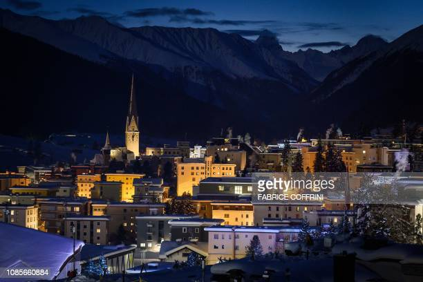 A picture shows the Alpine resort of Davos eastern Switzerland at dusk on January 20 ahead of the World Economic Forum annual meeting