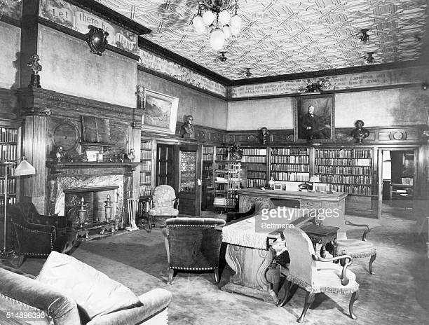Picture shows the Andrew Carnegie mansion interior showing his private library The 66 room residence was on 93rd Street and Fifth Ave New York City...