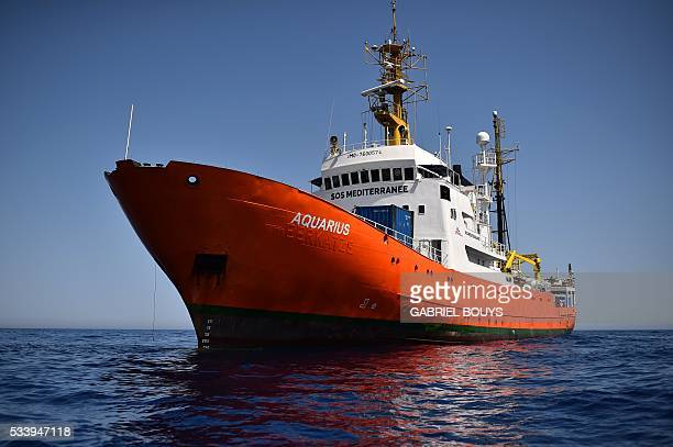 A picture shows the 'Aquarius' a former North Atlantic fisheries protection ship now used by humanitarians SOS Mediterranee and Medecins Sans...