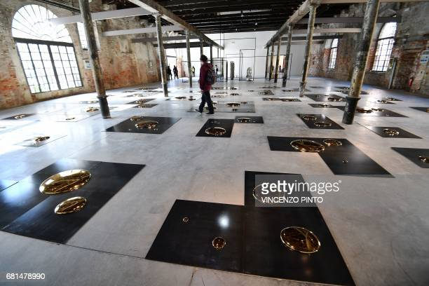 """Picture shows the artwork """"Square"""" by Chinese artist Liu Jianhua, on May 10, 2017 in Venice during the press preview of the 57th International Art..."""