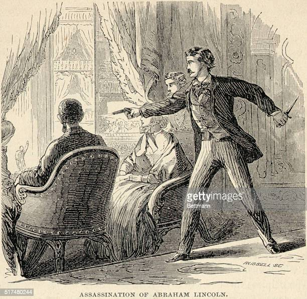 Picture shows the assassination of Abraham Lincoln Undated engraving