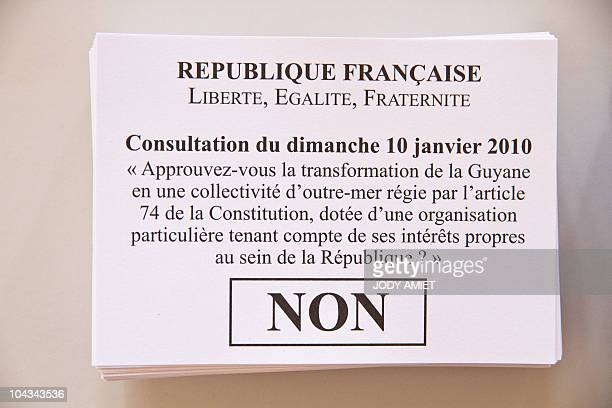 A picture shows the ballot 'No' in the polling station of Cayenne on the French South American territory of Guiana on January 10 for the referendum...