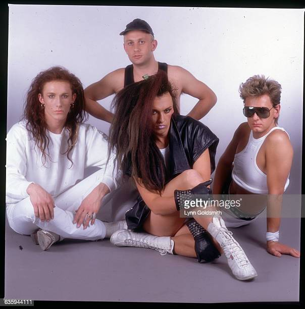 1985 Picture shows the band Dead or Alive seated and posing ina studio together