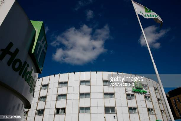 A picture shows the boardedoff Holiday Inn hotel close to Heathrow Airport west of London on March 16 2020 Britain's Department of Health has...
