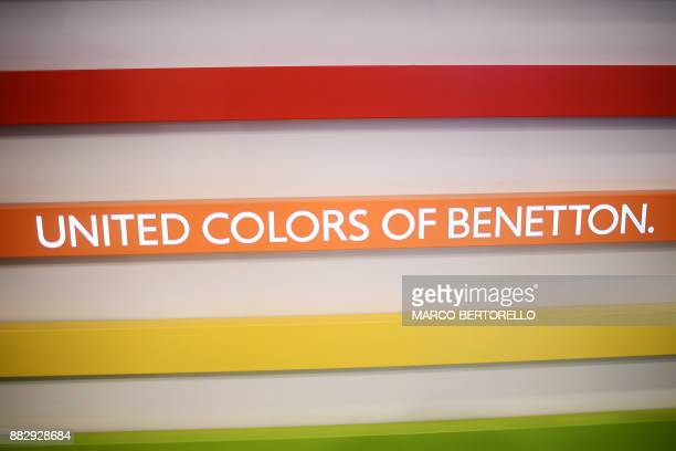 A picture shows the brand United Colors of Benetton on November 30 2017 in a Benetton shop of central Milan Luciano Benetton one of the founders of...