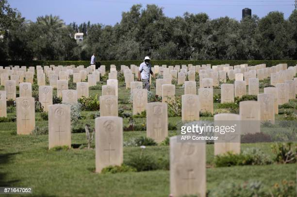 A picture shows the British cemetary in Gaza City on October 29 2017 It was just 67 words written in a faraway country a century ago but it shaped...