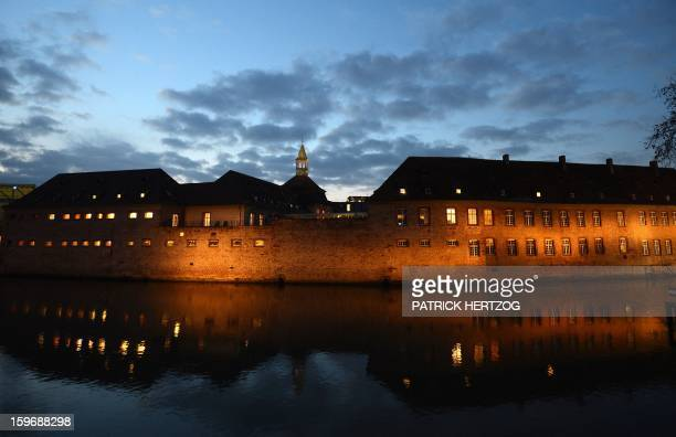 Picture shows the building of the Ecole Nationale d'Administration at night on January 14, 2013 in Strasbourg, eastern France. The National School of...