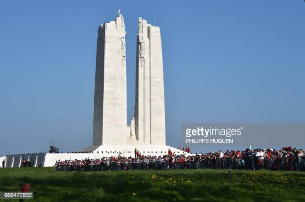 A picture shows the Canadian National Vimy Memorial in Vimy near Arras northern France on April 9 during a commemoration ceremony to mark the 100th...