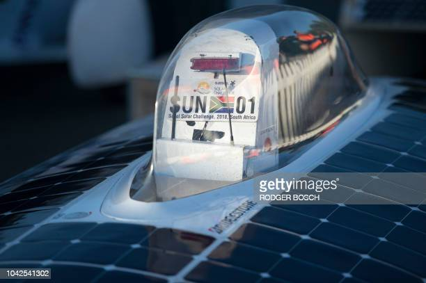 A picture shows the car of the team of Tokai University in Japan at the end of Day 7 of the Sasol Solar Challenge on September 28 in Swellendam South...