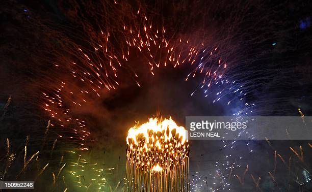 Picture shows the cauldron lit with the Paralympic Flame as fireworks burst around it during the opening ceremony of the London 2012 Paralympic Games...