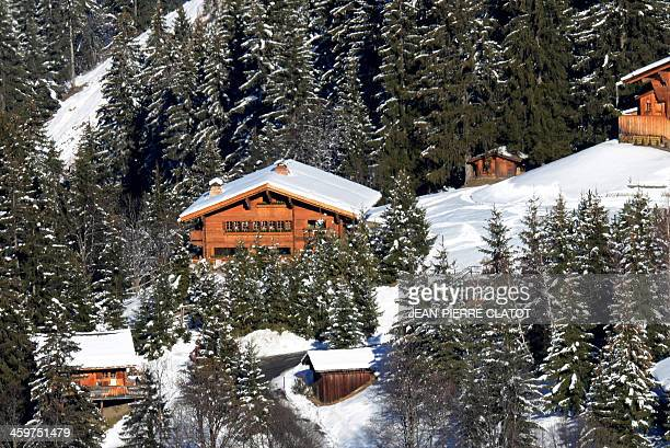 A picture shows the chalet in the centre reportedly owned by German retired Formula One champion Michael Schumacher in a private hamlet in the French...