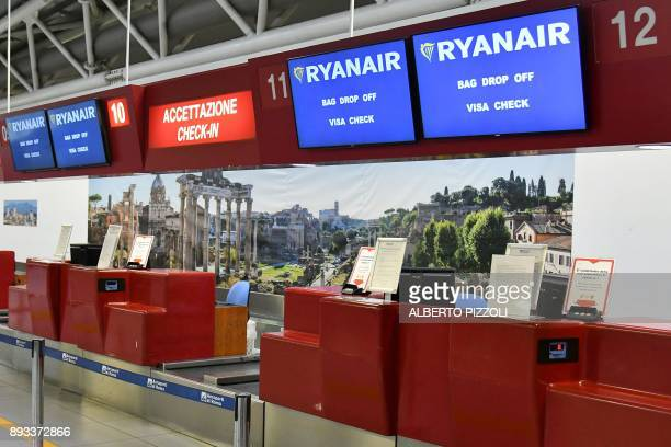 A picture shows the checkin desk Ryanair on December 15 2017 at Rome's Ciampino airport Ryanair has invited pilot unions across Europe for talks on...
