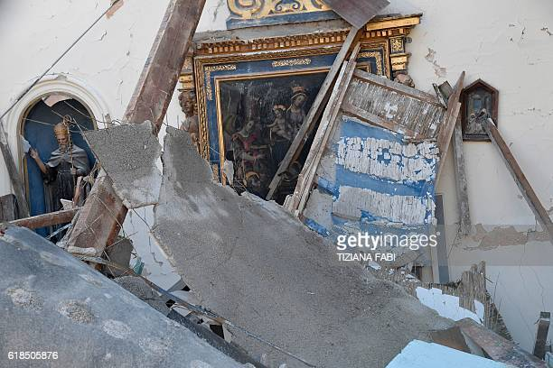 TOPSHOT A picture shows the church of Borgo Sant'Antonio damaged by earthquakes on October 27 2016 near Visso central Italy Twin earthquakes rocked...