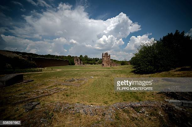 A picture shows the Circus of Maxentius on the Appian Way in the outskirts of Rome on June 6 2016 Located just outside Rome at the three mile marker...