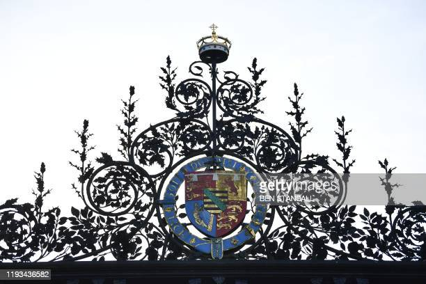 Picture shows the coat of arms of Albert Edward, Prince of Wales, later King Edward VII, atop the Norwich Gates at Sandringham House, the private...