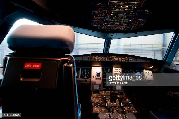 Picture shows the cockpit of the new Airbus A 320 neo aircraft model presented by the Spanish lowcost airline Vueling at Barcelona's airport in El...