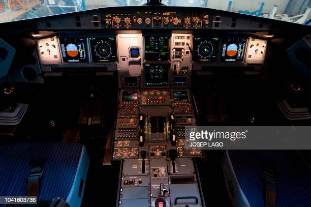 Picture shows the cockpit of the new Airbus A 320 neo aircraft model presented by the Spanish low-cost airline Vueling at Barcelona's airport in El...