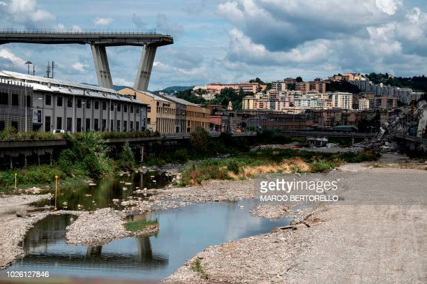 A picture shows the collapsed Morandi motorway bridge in Genoa on September 2 2018 The giant motorway bridge collapsed on August 14 2018 killing 43...