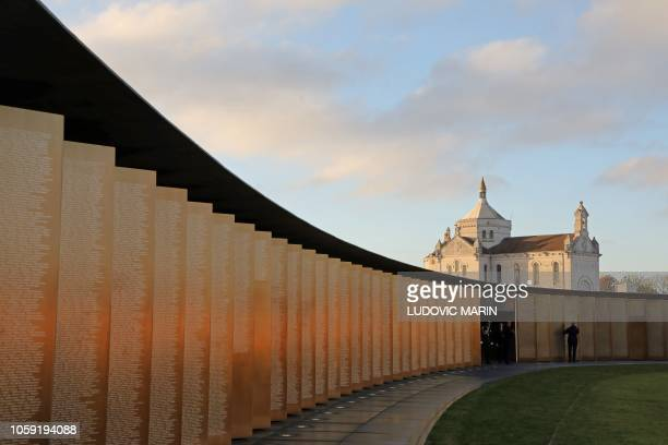 """Picture shows the commemoration ceremony at the """"Ring of Memory"""" international World War I memorial, at the Notre Dame de Lorette French war cemetery..."""