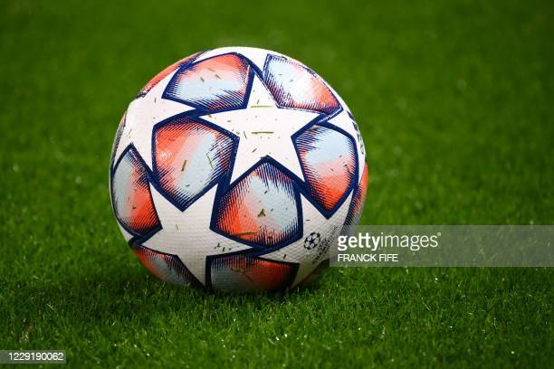 Picture shows the competition ball on the pitch prior to the UEFA Europa League Group H first-leg football match between Paris Saint-Germain and...
