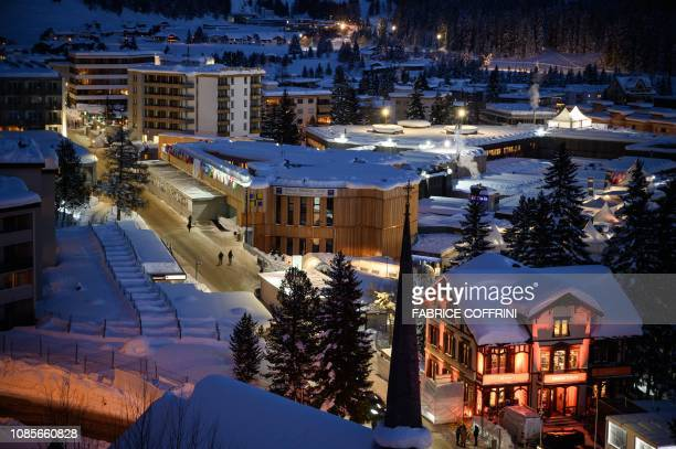 A picture shows the congress center in Alpine resort of Davos eastern Switzerland at dusk on January 20 ahead of the World Economic Forum annual...