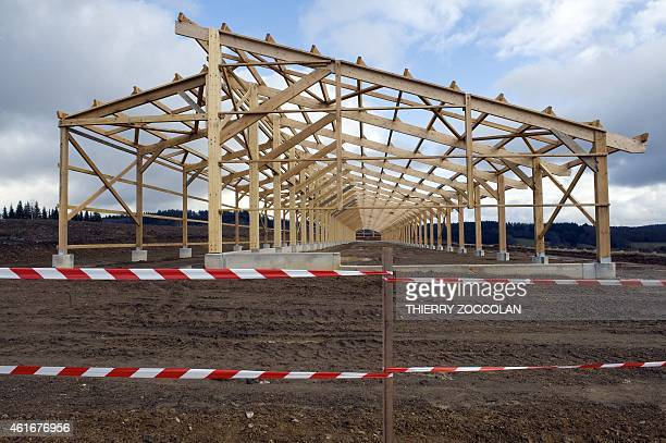 """Picture shows the construction site of a bovine fattening centre, the """"Ferme des 1000 veaux"""" , during a nearby demonstration called by French..."""