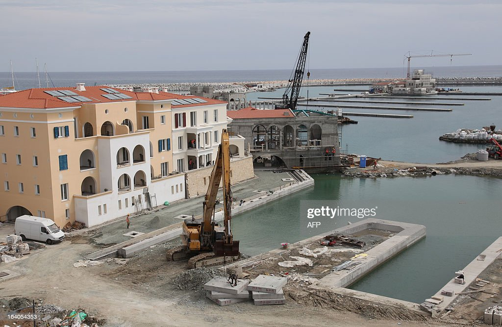 A picture shows the construction site of the Limassol Marina in the Cypriot Mediterranean city on March 19, 2013. Europe's main stock markets slid for the most part today as Cyprus appeared to be heading towards a showdown with the European Union and International Monetary Fund over the details of the latest eurozone bailout package.