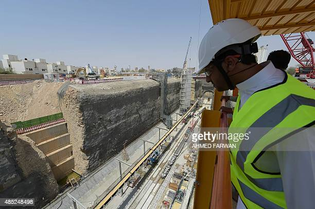 A picture shows the construction site of the Saudi capital Riyadh's $225 billion metro system on August 26 2015 The system which will have six lines...