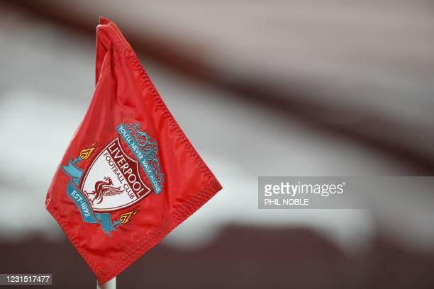 Picture shows the corner flag with the Liverpool emblem on it ahead of the English Premier League football match between Liverpool and Chelsea at...