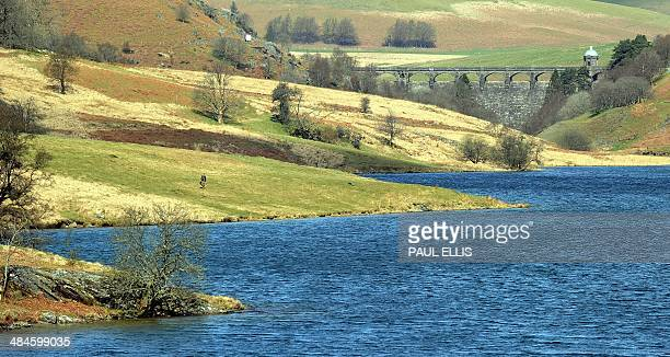 A picture shows the Craig Goch dam in Elan Valley in midWales on April 13 2014 The dam is one of a network of four dams that created five reservoirs...