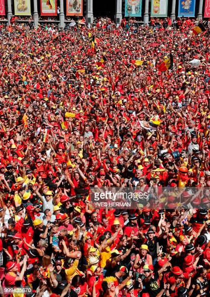Picture shows the crowd waiting for the arrival of Belgium's Red Devil football players at the Grand Place/Grote Markt in Brussels city center, after...