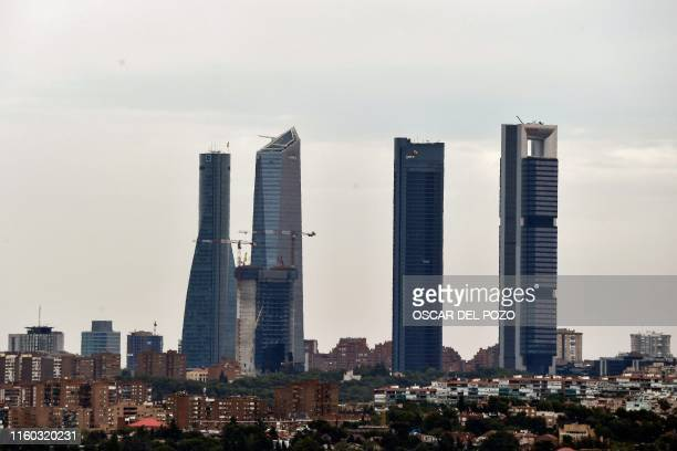 A picture shows the Cuatro Torres Business Area in Madrid on August 7 2019