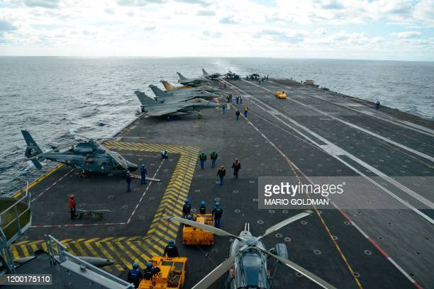 Picture shows the deck of the French aircraft carrier, Charles de Gaulle, off the eastern coast of Cyprus in the Mediterranean Sea on February 10,...