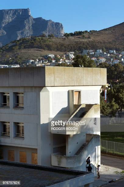 A picture shows the deserted Helen Bowden Nurses home in the city centre near the harbour in Cape Town where people live illegally as the Table...