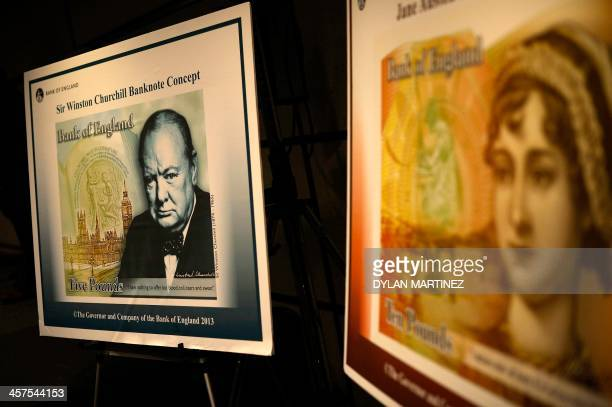 A picture shows the design concepts for the new polymer tenpound and fivepound banknotes after a news conference at the Bank of England in the City...