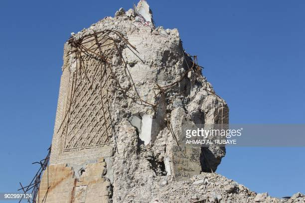 A picture shows the destroyed AlHadba minaret at the AlNuri Mosque in Mosul's Old City on January 8 six months after Iraqi forces seized the...