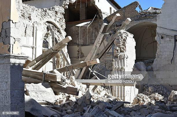 A picture shows the destroyed basilica St Benedict in the historic center of Norcia on October 31 a day after a 66 magnitude earthquake hit central...