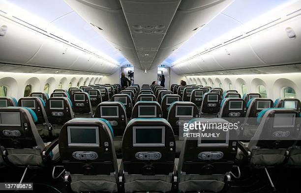 A picture shows the economy cabin of the new Boeing 787 Dreamliner passenger jet at the Dublin International airport in Dublin Ireland on January 26...