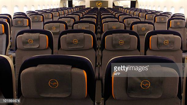 Picture shows the economy class of the new airplane Airbus A380 of the German airline Lufthansa during the test landing at the FranzJosefStrauss...