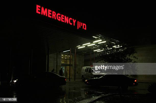 A picture shows the emergency entrance at Ziv Medical Center in the northern Israeli city of Safed on February 16 2013 The Israeli army evacuated...