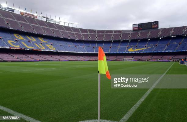 Picture shows the empty stadium after the cancellation of the Spanish league football match FC Barcelona vs UD Las Palmas at the Camp Nou stadium in...